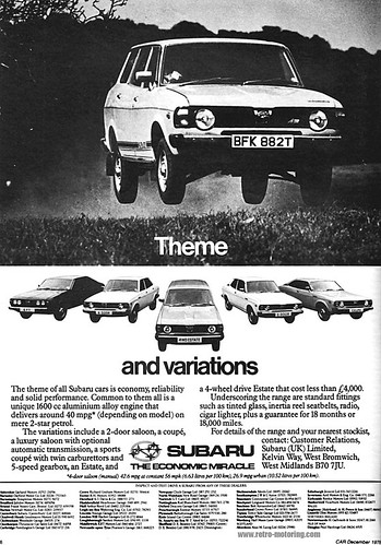 Subaru Retro Car Advert