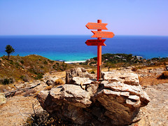 Ikaria 324 (isl_gr (Mnesterophonia)) Tags: rock island mediterranean hiking ikaria icaria  aegean may trails greece signage blogged cairn trailmarker balisage ege    messakti  theroundofrahesonfoot hikingdownfromthehills