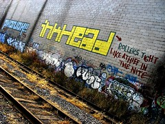 Rollers tight like a thief in the nite (mercurialn) Tags: railroad ny brooklyn graffiti tracks rollers bushwick ridgewood urbex inkhead phonoh