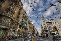 Via layetana in busy traffic (Mabar) Tags: barcelona nikon traffic d200 hdr doves photomatix sigma1020 singlerawhdr abigfave