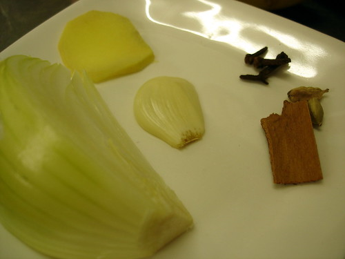 JUXTAPOSED: onion, ginger, garlic, cloves, cardamom, cinnamon