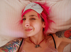 that's Miss Winky to you (galadarling) Tags: bed melbourne wink darling gala eyemask superpink galadarling