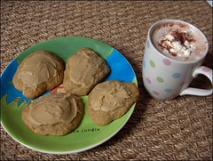 Frosted Banana Cookies and Hot Chocolate with Whipped Cream (Yes Becky) Tags: home cookies baking 2006 hotchocolate homebaking homemadecookies tessakiros applesforjam frostedbananacookies