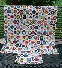 mini hex quilt (sunshine's creations) Tags: flower english garden paper quilt sampler grandmother handmade sewing cotton hexagon piecing 5for2