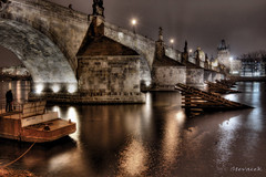 Charles Bridge, Prague...HDR (Stevacek) Tags: longexposure bridge reflection night river geotagged czech prague prag praha most czechrepublic charlesbridge vltava hdr kampa noc karluvmost reka odraz tthdr stevacek geo:lat=5008650976085087 geo:lon=1441119707677343