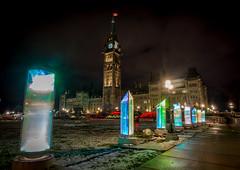 Parliament Lights : December 7, 2016 (jpeltzer) Tags: ottawa night parliament parliamenthill centreblock peacetower christmaslights christmaslightsacrosscanada christmas publicart