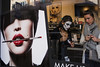 Brussels (jaumescar) Tags: halloween brussels shop beauty cosmetics ad photo woman buyer seller makeup white face store lipstick lips red product buying shoping