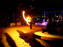 Fire-twirlers at Cafe Del Mar