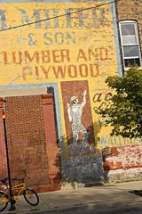 Lumber, Plywood (swanksalot) Tags: chicago brick bike sign advertising us nikond70 2006 billboard il faded plywood lumber ghostsign chicagoist swanksalot sethanderson