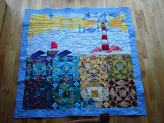ians quilt (sew-mad) Tags: baby lighthouse quilt sewing blanket quilting patchwork applique stormatsea cribquilt sewmad