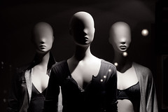 Escaparate WS#2 (Xavi Calvo) Tags: shadow bw black mannequin valencia shopping spain storefront cleavage dummy canoneos350d manikin neckline womensecret