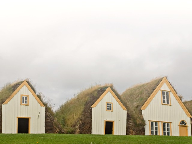 Turf roofed farmhouse in the mist