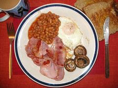 before (bobby stokes) Tags: breakfast mushrooms bacon beans tea toast egg knife fork friedegg bakedbeans fryup fullenglishbreakfast allyoucaneat  fullenglish ilovefood1006