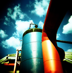 blue and red (poopoorama) Tags: seattle blue red sky film clouds mediumformat square washington holga xpro industrial kodak crossprocess meta fremont 2550fav squareformat ektachrome gasworkspark e100vs 120challenge 120cfn blogdannyngancom