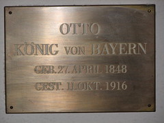 King Otto's plaque in the Michaelskirche crypt (GeorgePinecrest) Tags: church plaque germany munich cathedral otto munchen michaelskirche churchofstmichael ottokonigvonbayern kingotto