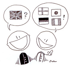 Talking in Languages (zinjixmaggir) Tags: friends blackandwhite bw english boys smile face illustration french japanese blackwhite italian chat buddies cartoon talk pals swedish german conversation language finnish talking languages