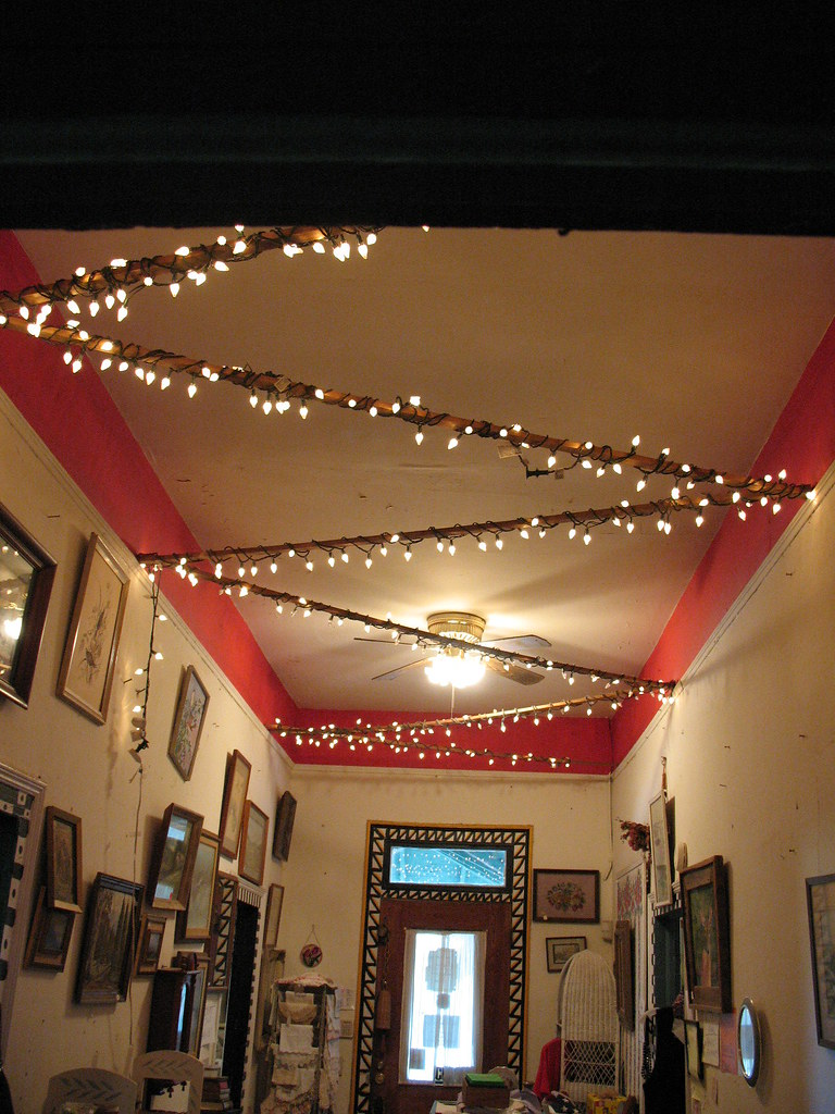 Antique shop entryway - christmas lights and crown moulding