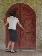 Beram (oranges and lemons) Tags: door woman church wooden back open entrance croatia medieval istria hrvatska istra beram