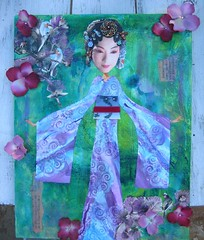 Blossom Geisha (HollyLovesArt) Tags: art collage asian beads mixed media geisha