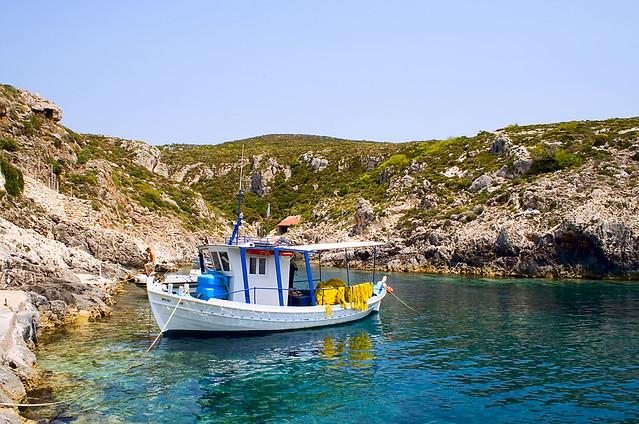 Boat at Porto Roxa, Zakynthos