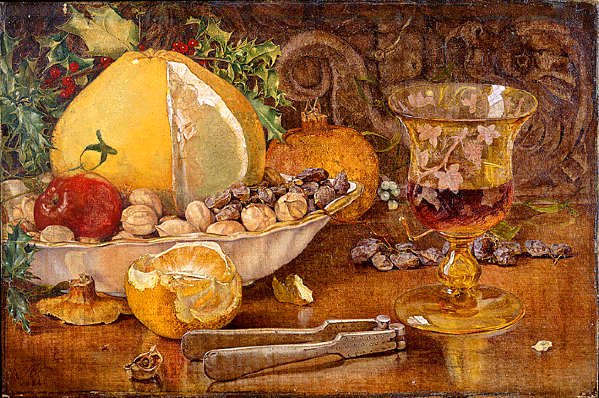 John Edward Newton RA, Still Life of Fruit, Nuts and Wine Glass, 1864