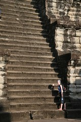 Steep stairs up to the top of Angkor Wat