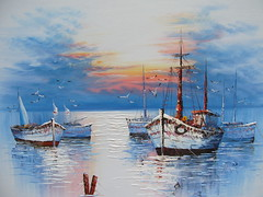 Quadro(Alyas) (Sanegy) Tags: sea sky painting boats boat barca mare picture cielo