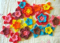 wool crochet flowers