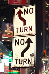 No where to turn? Go straight? (lowlight168) Tags: new york signs slr digital d50 50mm nikon lowlight168
