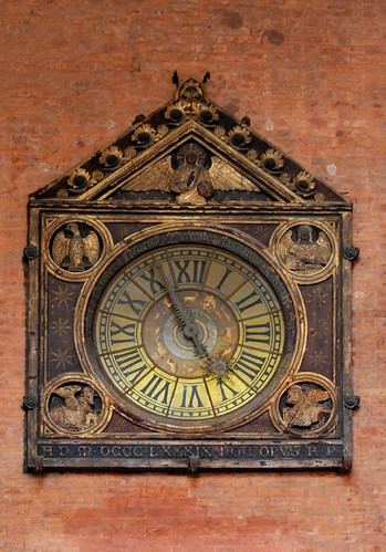 The clock at the Loggia  della Mercanzia - Bologna, Italy