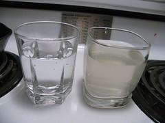 Bottled water (left) vs. tapwater (right)