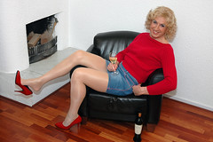 With a glass of wine... (kim femme10) Tags: me kim crossdressing tgirl tranny transvestite miniskirt pantyhose crossdresser trannies travestie transvestism tgirls