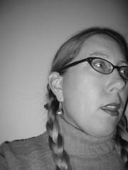 018 - Open (Velma's World) Tags: portrait blackandwhite bw woman selfportrait face self glasses autoportrait days 365 day18 velma 365days