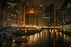 Chicago Skyline & River, Night (Bill in DC) Tags: chicago night 2006 chicagoriver eos5d
