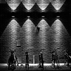cycle racks (Leo Reynolds) Tags: bw night canon eos iso800 28mm utata 30d f35 scoutleol30 0ev hpexif 0033sec leol30random grouputata groupbw xintx xexplorex groupnorwich xratio11x xxblurbbookxx xxblurbbookcoffeetablexx groupsepiabw xleol30x