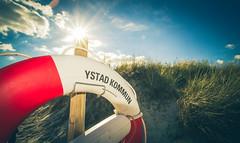 (c) Wolfgang Pfleger-0607 (wolfgangp_vienna) Tags: schweden sweden sverige schonen southsweden kseberga beach strand ystad rettungsring schwimmreifen sandhammaren blue sky blau himmel felder