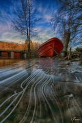 ice stripes (Spiderdama) Tags: ice winter water boat landscape sky reddal grimstad norway norge skaywatch