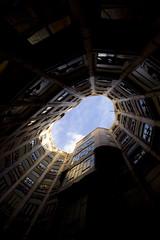 looking up (Milton CJ) Tags: barcelona light sky espaa spain mila gaudi gaud canonrebelxt casamil lapedrera sigma1020mm antonigaud