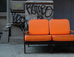 so fa from home (nardell) Tags: nyc newyorkcity orange newyork cityscape grafitti furniture gray couch sofa wandering rambo buttery hw emptychairs sofasogood