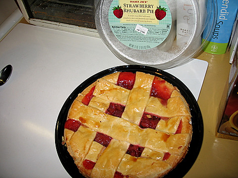 Trader Joe'sdelicious and  strawberry rhubarb pie