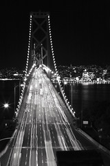 Bay Bridge in Black and White (TiMm1) Tags: sf city night lights san francisco long exposure rush baybridge bayarea