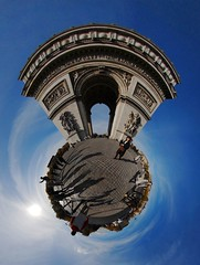 Giant cricket (Man) Tags: sky sun paris france gate gimp bluesky explore planet handheld napoleon bonaparte stargate arcdetriomphe champselyses 360x180 360 stereographic planetoid hugin enblend interestingness355 i500 littleplanet stereographicprojection manuperez planetoids
