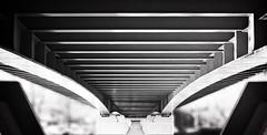 under a bayonne bridge 2 (charmar) Tags: city bridge blackandwhite bw france geometric motif lines architecture composition contrast blackwhite europe geometry patterns under shapes abroad pont underneath bandw géométrie ville bayonne lignes sous noireetblanc géométrique noireblanc endessous