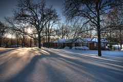 Snow Day 12.1.2006 (Notley Hawkins) Tags: morning trees winter sun snow tree december shadows 2006 columbia missouri snowday columbiamissouri bocomo 10thavenue notley ruralphotography boonecountymissouri notleyhawkins missouriphotography httpwwwnotleyhawkinscom notleyhawkinsphotography boonebounty