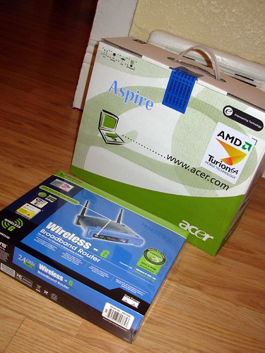 Acer Aspire 5100 and Linksys 802.11 b/g Router.