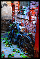 Chegongzhuang Hutongs #7 (NowJustNic) Tags: china door brick window leaves bike catchycolors nikon bottles edited beijing explore 北京 hutong 中国 windowsill 胡同 d80 nikkor18135mm chegongzhuang