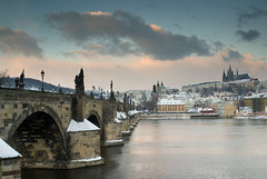 Back in Time (Vincnt) Tags: morning bridge winter snow topf25 clouds topf75 prague sony praha fv5 praskhrad czechrepublic fv10 alpha charlesbridge zima hradany praguecastle vincentvega karlvmost sigma2470 snh nohdr p1f1 colorphotoaward impressedbeauty ysplix world100f