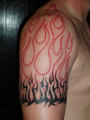 Tribal Flame Band Tattoo by Jon Poulson