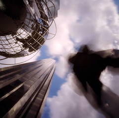 Columbus Circle (Nad) Tags: sky newyork up clouds skyscraper self globe 2000 pinhole trump columbuscircle timewarner zero