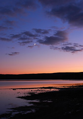 Crescent Moon Sunset, Yellowstone Lake (Fort Photo) Tags: travel blue sunset red vacation moon color nature landscape nationalpark nps 2006 yellowstonenationalpark yellowstone wyoming crescentmoon yellowstonelake 2for2 specland specnature nikonstunninggallery p1f1 bestnaturetnc06